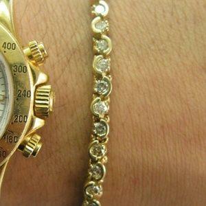 Jewelry - Round Diamond Tennis Bracelet Half Bezel Solid 14K